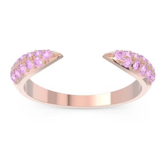 Modern Open Pave Sandamza Pink Tourmaline Ring in 14K Rose Gold