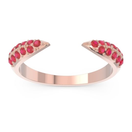 Modern Open Pave Sandamza Ruby Ring in 14K Rose Gold