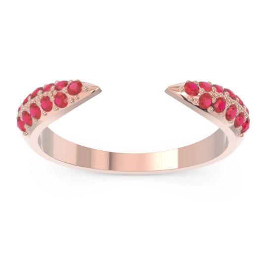 Modern Open Pave Sandamza Ruby Ring in 14K Rose Gold