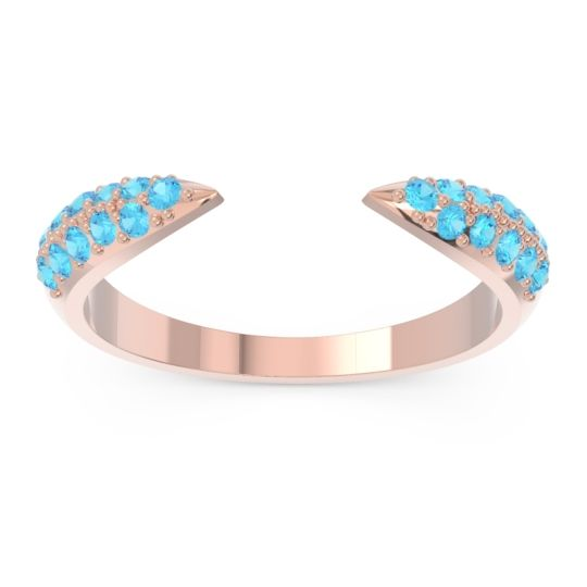 Modern Open Pave Sandamza Swiss Blue Topaz Ring in 14K Rose Gold