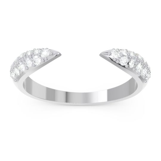 Modern Open Pave Sandamza Diamond Ring in Platinum