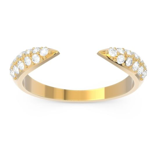 Modern Open Pave Sandamza Diamond Ring in 14k Yellow Gold