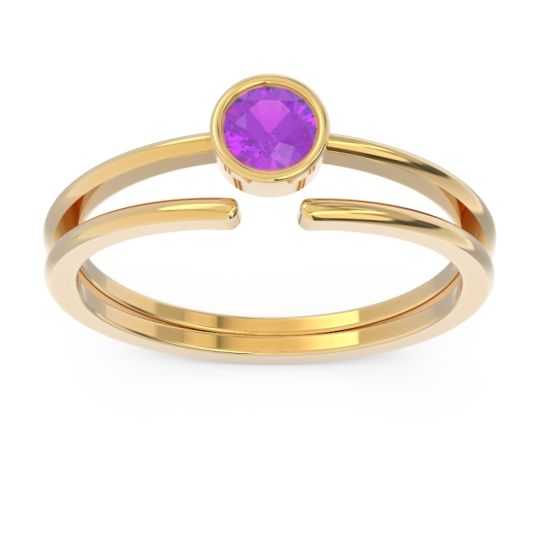 Petite Modern Bezel Vicitra Amethyst Ring in 14k Yellow Gold