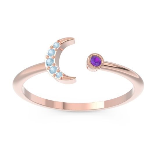 Petite Modern Open Ratri Amethyst Ring with Aquamarine in 14K Rose Gold
