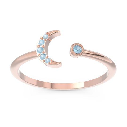 Petite Modern Open Ratri Aquamarine Ring in 14K Rose Gold