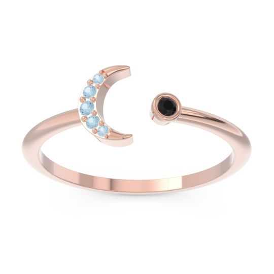 Petite Modern Open Ratri Black Onyx Ring with Aquamarine in 14K Rose Gold
