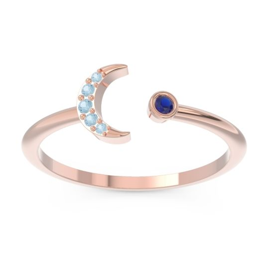 Petite Modern Open Ratri Blue Sapphire Ring with Aquamarine in 14K Rose Gold