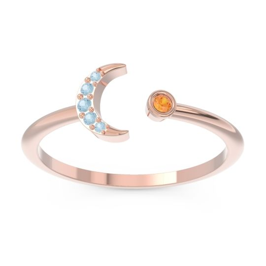 Petite Modern Open Ratri Citrine Ring with Aquamarine in 14K Rose Gold