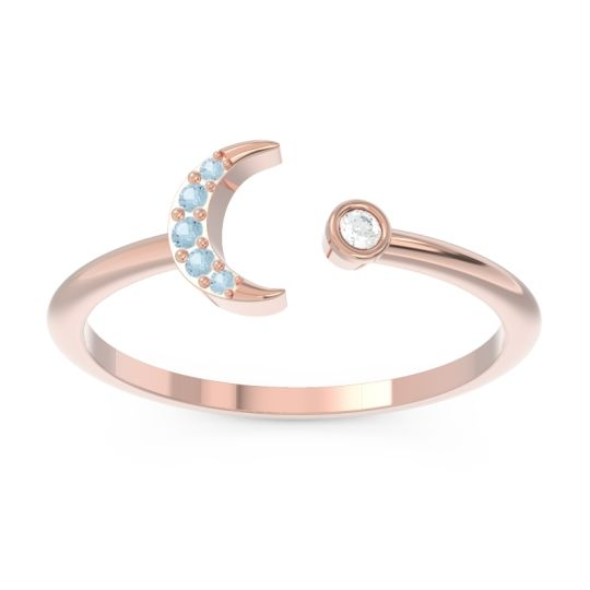 Petite Modern Open Ratri Diamond Ring with Aquamarine in 14K Rose Gold