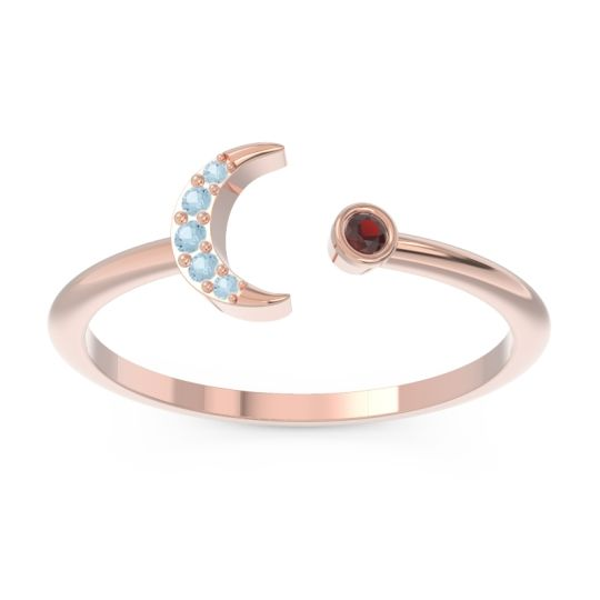 Petite Modern Open Ratri Garnet Ring with Aquamarine in 14K Rose Gold