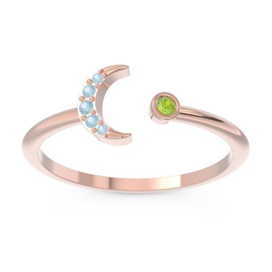 Petite Modern Open Ratri Peridot Ring with Aquamarine in 14K Rose Gold