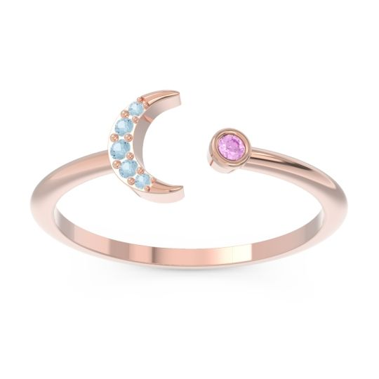 Petite Modern Open Ratri Pink Tourmaline Ring with Aquamarine in 14K Rose Gold