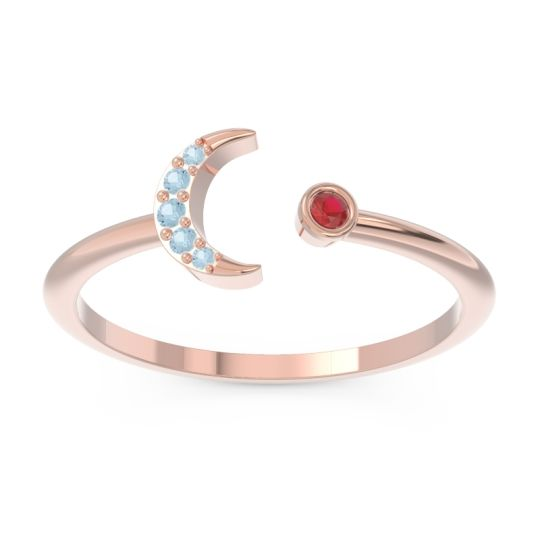 Petite Modern Open Ratri Ruby Ring with Aquamarine in 14K Rose Gold