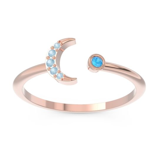 Petite Modern Open Ratri Swiss Blue Topaz Ring with Aquamarine in 14K Rose Gold