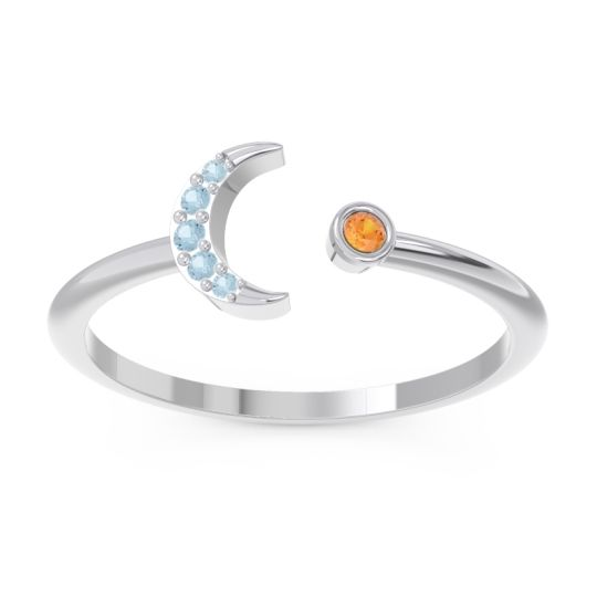 Petite Modern Open Ratri Citrine Ring with Aquamarine in Platinum