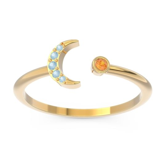 Petite Modern Open Ratri Citrine Ring with Aquamarine in 14k Yellow Gold