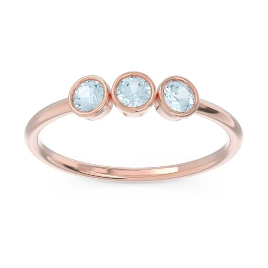 Petite Modern Bezel Traita Aquamarine Ring in 14K Rose Gold