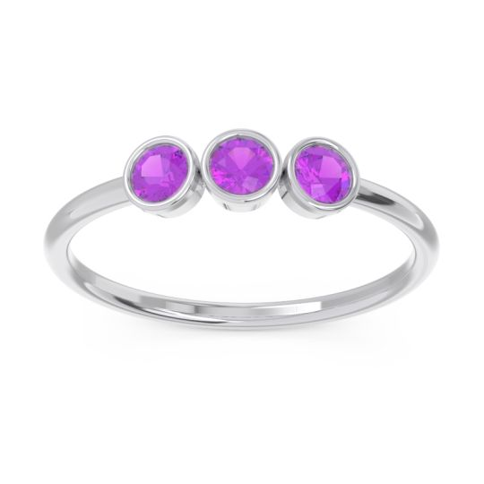 Petite Modern Bezel Traita Amethyst Ring in 14k White Gold