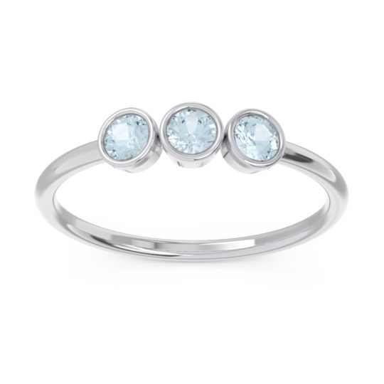 Petite Modern Bezel Traita Aquamarine Ring in Platinum