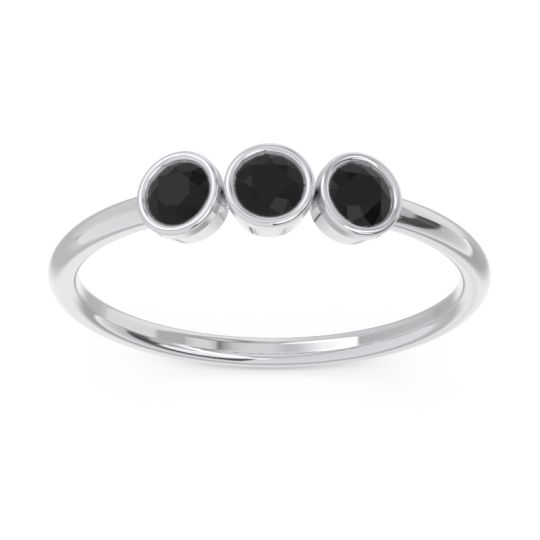 Petite Modern Bezel Traita Black Onyx Ring in 14k White Gold