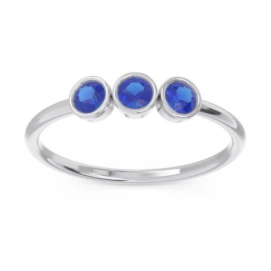 Petite Modern Bezel Traita Blue Sapphire Ring in 14k White Gold