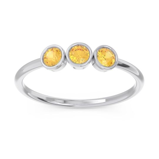 Petite Modern Bezel Traita Citrine Ring in 14k White Gold