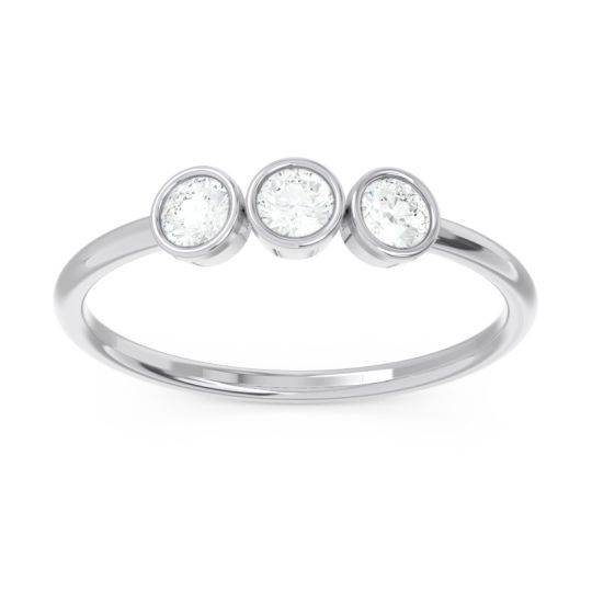 Petite Modern Bezel Traita Diamond Ring in 14k White Gold