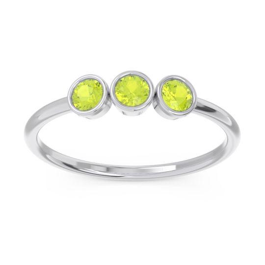 Petite Modern Bezel Traita Peridot Ring in 14k White Gold