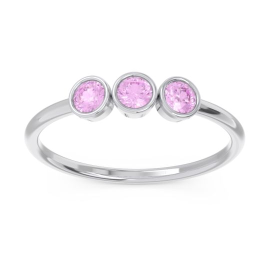 Petite Modern Bezel Traita Pink Tourmaline Ring in 14k White Gold