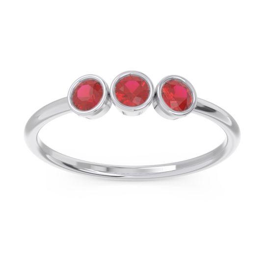 Petite Modern Bezel Traita Ruby Ring in 14k White Gold