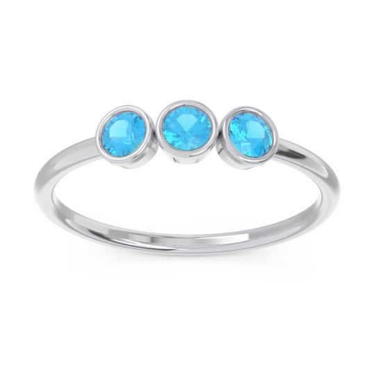 Petite Modern Bezel Traita Swiss Blue Topaz Ring in 14k White Gold