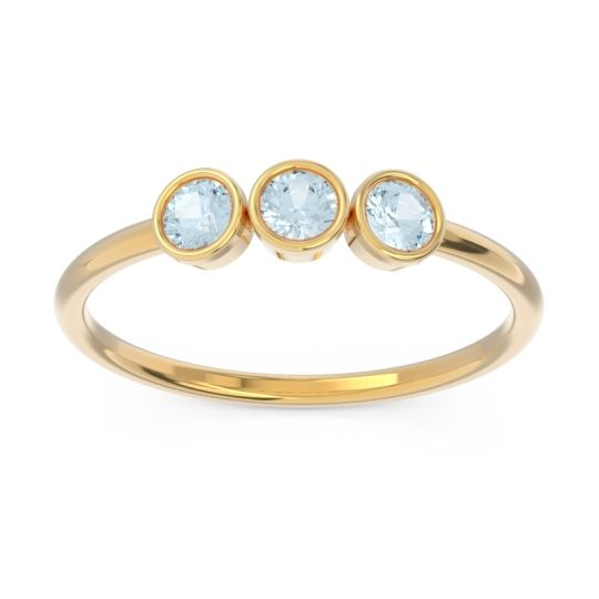 Petite Modern Bezel Traita Aquamarine Ring in 14k Yellow Gold