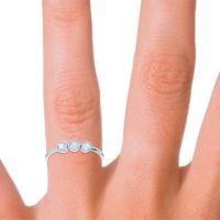 Petite Modern Bezel Traita Aquamarine Ring in 14k White Gold
