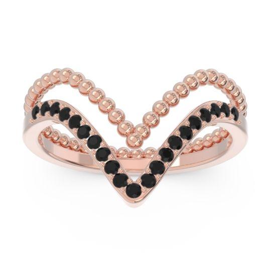 Modern Double Line V-Shape Pave Bheda Black Onyx Ring in 14K Rose Gold