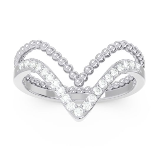 Modern Double Line V-Shape Pave Bheda Diamond Ring in 14k White Gold