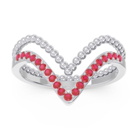 Modern Double Line V-Shape Pave Bheda Ruby Ring in 14k White Gold