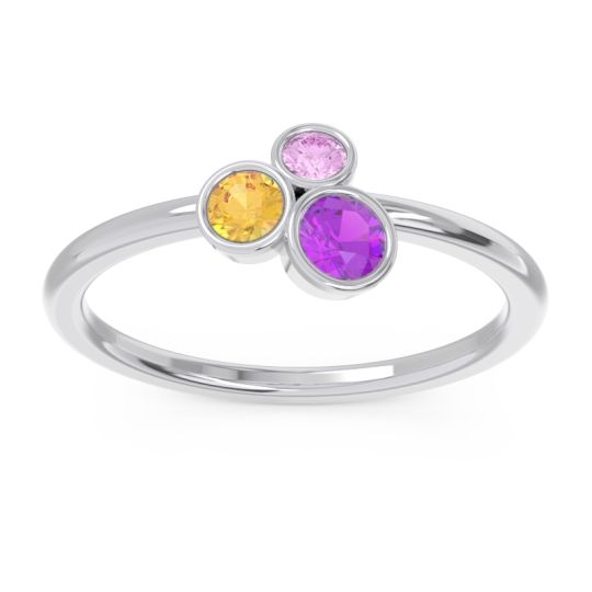 Petite Modern Bezel Guccha Amethyst Ring with Citrine and Pink Tourmaline in 14k White Gold