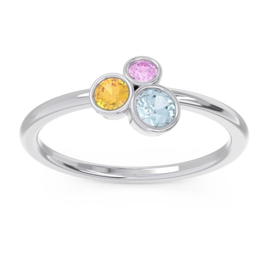 Petite Modern Bezel Guccha Aquamarine Ring with Citrine and Pink Tourmaline in 18k White Gold