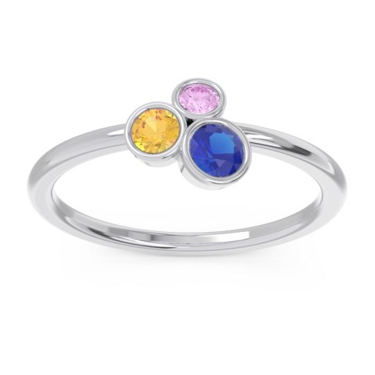 Petite Modern Bezel Guccha Blue Sapphire Ring with Citrine and Pink Tourmaline in 14k White Gold