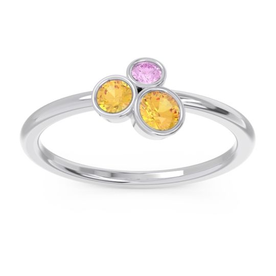 Petite Modern Bezel Guccha Citrine Ring with Pink Tourmaline in 14k White Gold