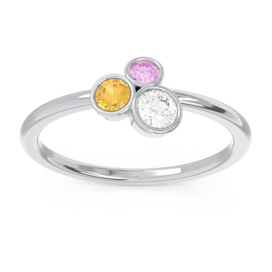 Petite Modern Bezel Guccha Diamond Ring with Citrine and Pink Tourmaline in 14k White Gold