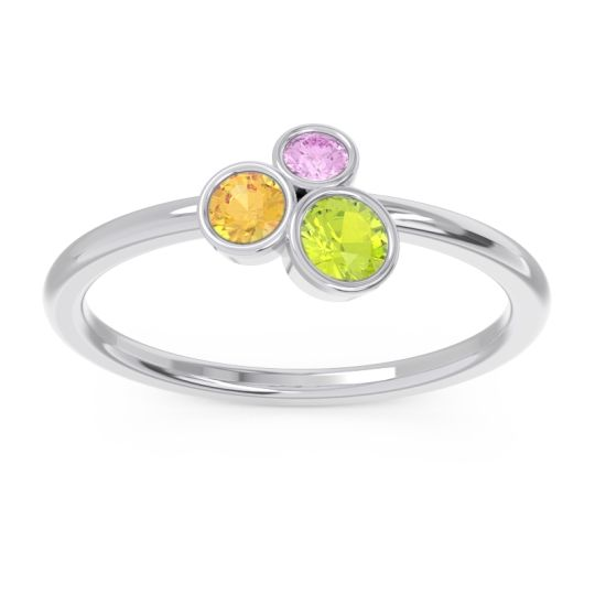 Petite Modern Bezel Guccha Peridot Ring with Citrine and Pink Tourmaline in 14k White Gold