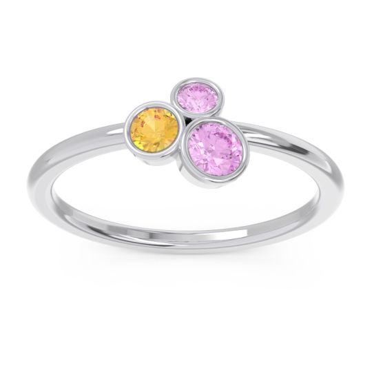 Petite Modern Bezel Guccha Pink Tourmaline Ring with Citrine in 14k White Gold