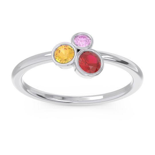 Petite Modern Bezel Guccha Ruby Ring with Citrine and Pink Tourmaline in 14k White Gold