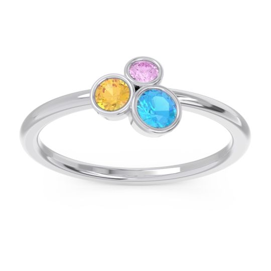 Petite Modern Bezel Guccha Swiss Blue Topaz Ring with Citrine and Pink Tourmaline in 14k White Gold