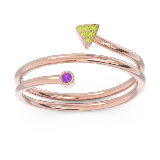 Modern Wrap Bezel Pave Viparyaya Amethyst Ring with Peridot in 14K Rose Gold
