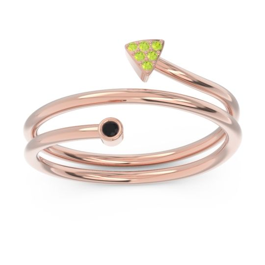 Modern Wrap Bezel Pave Viparyaya Black Onyx Ring with Peridot in 14K Rose Gold
