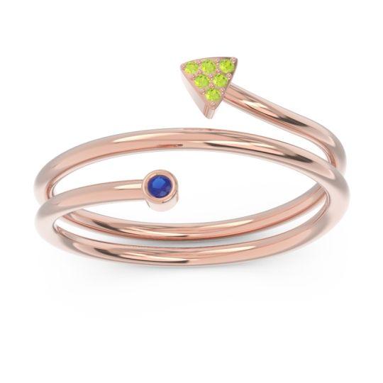 Modern Wrap Bezel Pave Viparyaya Blue Sapphire Ring with Peridot in 14K Rose Gold