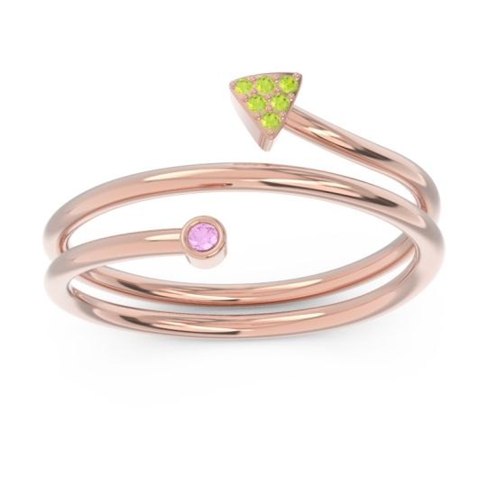 Modern Wrap Bezel Pave Viparyaya Pink Tourmaline Ring with Peridot in 14K Rose Gold
