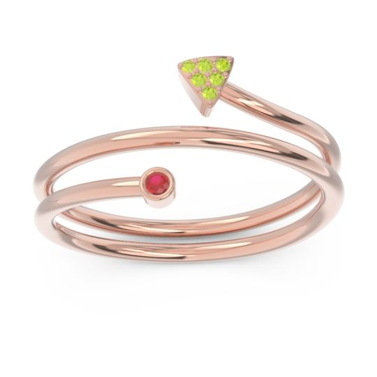 Modern Wrap Bezel Pave Viparyaya Ruby Ring with Peridot in 14K Rose Gold